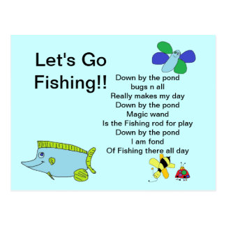 Let's go Fishing Card with Poem Postcard