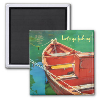 Let's go fishing! Red boat Green Water Magnet