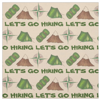 Let's Go Hiking Tent Compass Camping Camp Fabric