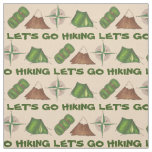 Let's Go Hiking Tent Compass Camping Summer Camp Fabric