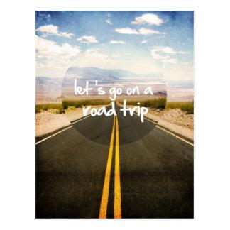 Let's go on a road trip postcard