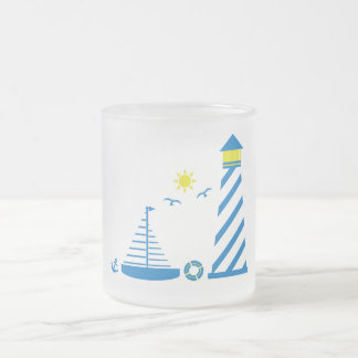 Let's Go Sailing 10 Oz Frosted Glass Coffee Mug