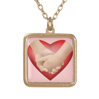 Let's hold hands heart gold plated necklace