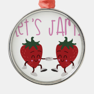 Lets Jam Silver-Colored Round Ornament