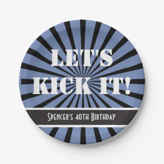 """""""Let's Kick It!"""" Birthday Blue Paper Plate"""