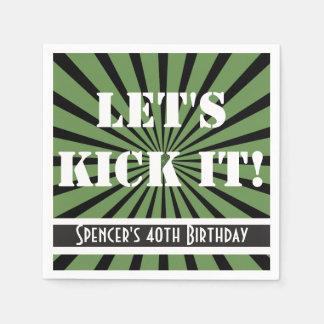"""Let's Kick It!"" Birthday Green Disposable Napkin"