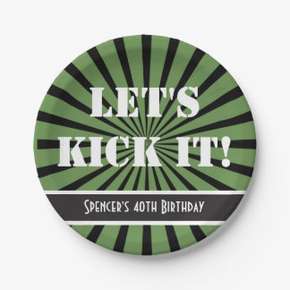 """""""Let's Kick It!"""" Birthday Green Paper Plate"""