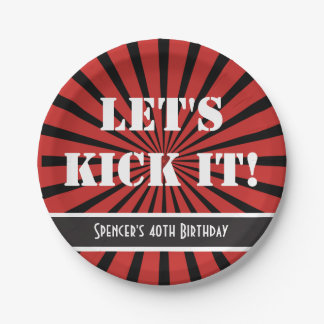 """""""Let's Kick It!"""" Birthday Red Paper Plate"""