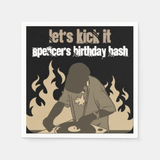 """Let's Kick It"" Personalized Birthday Disposable Napkins"