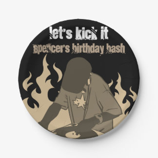 """Let's Kick It"" Personalized Birthday Paper Plate"