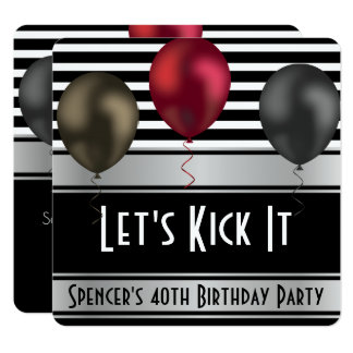 """Let's Kick It"" Stripes Birthday Invitation"
