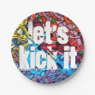 """Let's Kick It"" Urban 7 Inch Paper Plate"