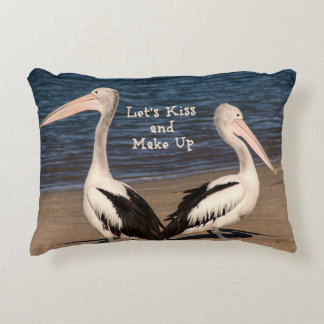 """Let's Kiss and Make Up"" Pelicans on the Beach Decorative Pillow"