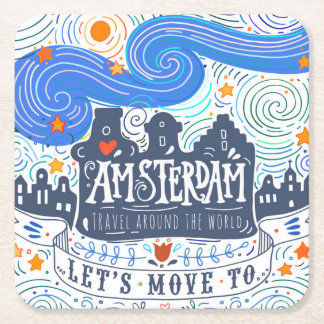 Let's Move To Amsterdam Square Paper Coaster