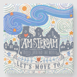 Let's Move To Amsterdam Stone Beverage Coaster