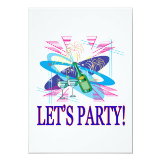 "Lets Party 5"" X 7"" Invitation Card"