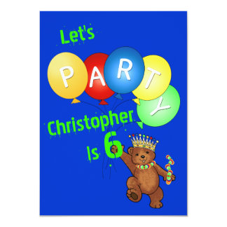 Let's Party 6th Birthday Bear Prince Card