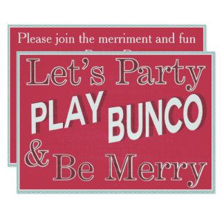 Let's Party and Play Bunco Card
