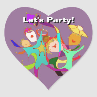Let's Party! Carnival! Dancing in the Streets! Heart Sticker