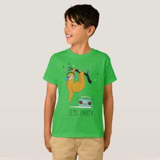 """Let's Party"" Cute Sloth Kids' T-Shirt"