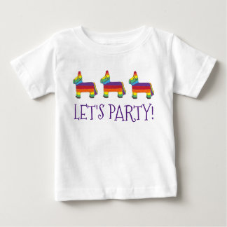 Let's Party! Rainbow Baby Birthday Fiesta Piñata Baby T-Shirt