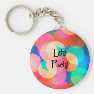 Let's Party Retro Basic Round Button Keychain