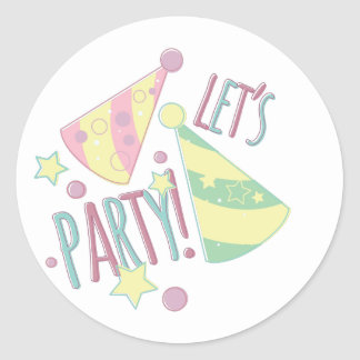 Lets Party Round Sticker