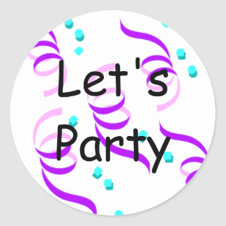 Let's Party Round Sticker