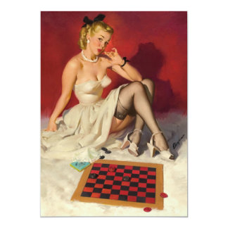 Lets Play a Game - Retro Pinup Girl Card