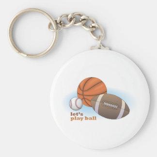 Let's play ball: baseball, basketball & football basic round button keychain