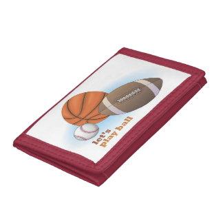 Let's play ball: baseball, basketball & football tri-fold wallets