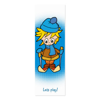 Lets play! - Boy in winter - bookmark Business Card