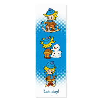 Lets play! - Boy in winter - bookmark Mini Business Card
