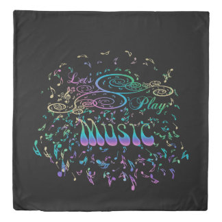 Lets Play Music Psychedelic Rock Art Musical Notes Duvet Cover