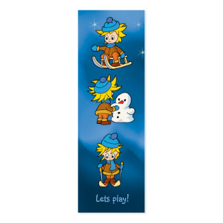 Lets play! -  winter - bookmark mini business card