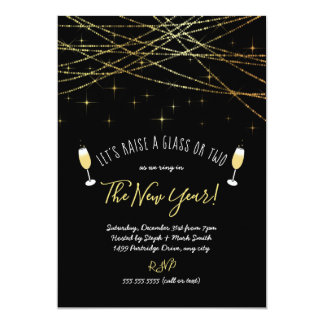Let's raise a glass New year's eve party invite
