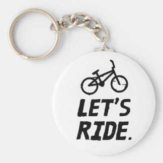 Let's Ride City and Mountain Cyclist Humor Basic Round Button Keychain