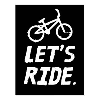 Let's Ride City and Mountain Cyclist Humor Postcard