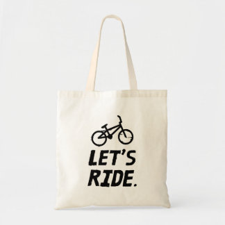 Let's Ride City and Mountain Cyclist Humor Tote Bag