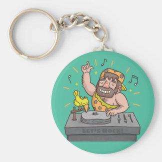 Lets Rock Stone Age Caveman Club Deejay Keychain