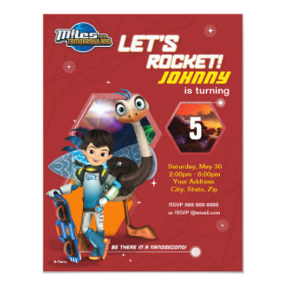 "Let's Rocket! Miles From Tomorrowland Birthday 4.25"" X 5.5"" Invitation Card"