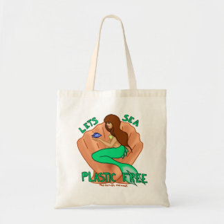 Lets sea plastic free! Teal mermaid Tote Budget Tote Bag
