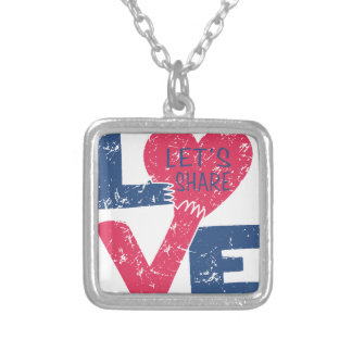 let's share love silver plated necklace