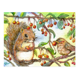Let's Share - Squirrel And Sparrow Postcard