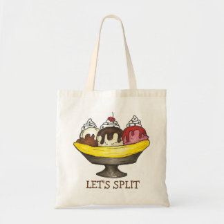 Let's Split Banana Ice Cream Split Tote Bag