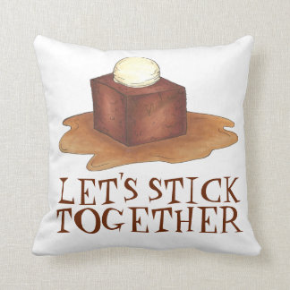 Let's Stick Together British Sticky Toffee Pudding Throw Pillow