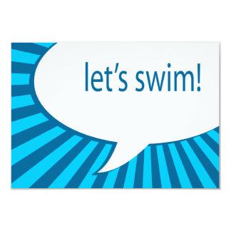 "let's swim! comic speech bubble 3.5"" x 5"" invitation card"