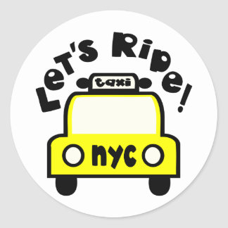 Let'sRide! With NYC Retro Taxi Cab Round Sticker