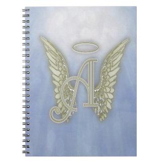 Letter A Angel Monogram Spiral Notebook