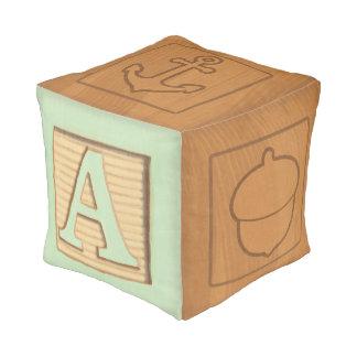 Letter A Block - Green Pastel Pouf